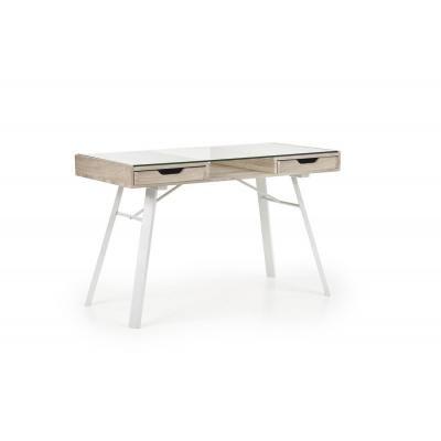Íróasztal 2 fiókkal üveglappal, sonoma tölgy-fehér - PABLO